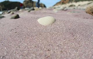 Pfeiffer Beach di kawasan Big Sur, California, yang berpasir ungu muda.